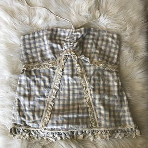 🦋 NWT JUICY COUTURE BLUE GINGHAM HALTER SIZE L